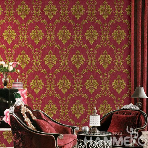 HANMERO Chinese Exporter Red Golden Damask PVC Wallpaper for Interior Room Decoration Best Prices and Nature Sense