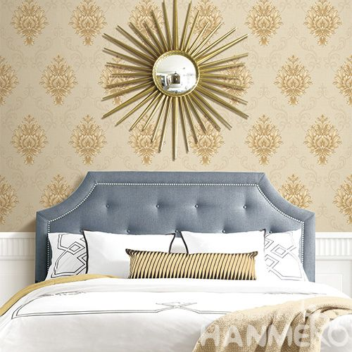 HANMERO Vinyl Living Room PVC Deep Embossed Wallpaper 0.53 * 10M / Roll Classic Damask Wallcovering Exported Wall Decoration