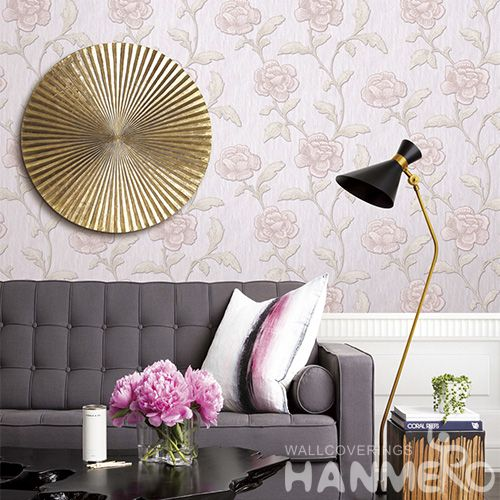 HANMERO Vinyl Washable PVC 0.53 * 10M Wallcovering Hotels Restaurants Pink Floral Wallpaper Supplier Modern Fancy Style
