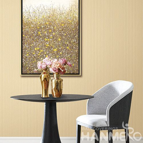 HANMERO Removable PVC Deep Embossed Wallpaper 0.53 * 10M Yellow Solid Color Lounge Rooms Decor Chinese Wallcovering Vendor