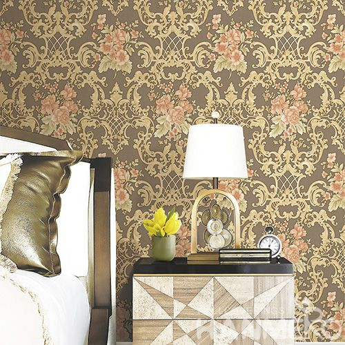 HANMERO Deep Embossed  Wall Decoration PVC 0.53 * 10M Wallpaper Floral Design Living Room Bed Room Wallcovering Wholesaler