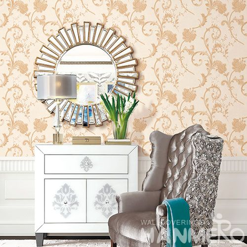 HANMERO Modern European PVC Beige Color Wallpaper Fancy Vines Pattern from Chinese Professional Wallcovering Manufacturer