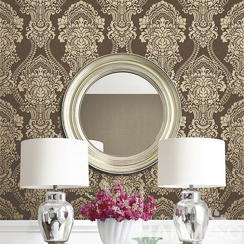 HANMERO New Arrival Eco-friendly Brown Color PVC Wallpaper Classic Damask Design for Elegant Home Study Room Decoration