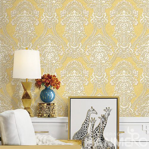 HANMERO Affordable Cozy Yellow Color Damask Natural PVC Wallpaper Household Room Wallcovering Best Prices from Chinese Dealer