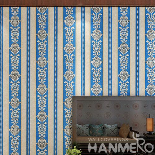 HANMERO Stripes Blue Color Home Interior PVC 0.53 * 10M Wallpaper for TV Sofa Background Professional Wallcovering Manufacturer