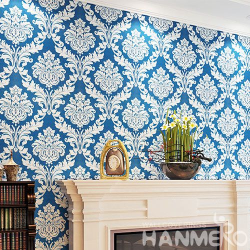 HANMERO Chinese Blue Color Classic Damask Embossed Wallpaper PVC Wallcvoering Factory Supplier With SGS CE Certificate