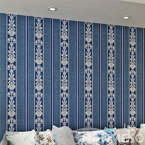 HANMERO Blue Stripes New Arrival Modern Removable Wallpaper Wallcvoering PVC 0.53 * 10M Classic Design Chinese Vendor