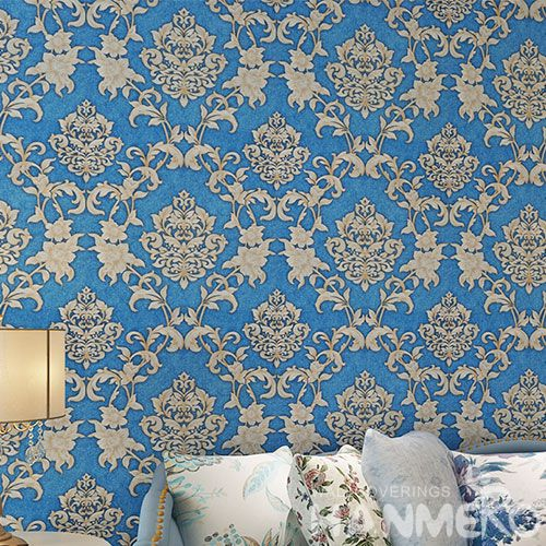 HANMERO Kids Room Exported Household Blue Color Wallpaper PVC 0.53 * 10M Stylish Wallcovering Distributor from China
