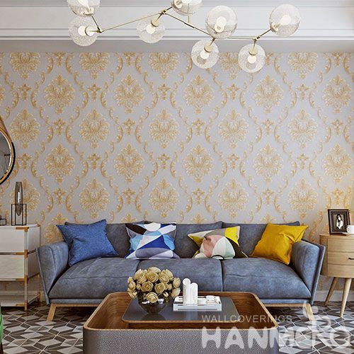 HANMERO Classic Damask 0.53 * 10M PVC Wallcovering Factory Office Kitchen Wall Decor Natural Material High Quality Wallpaper
