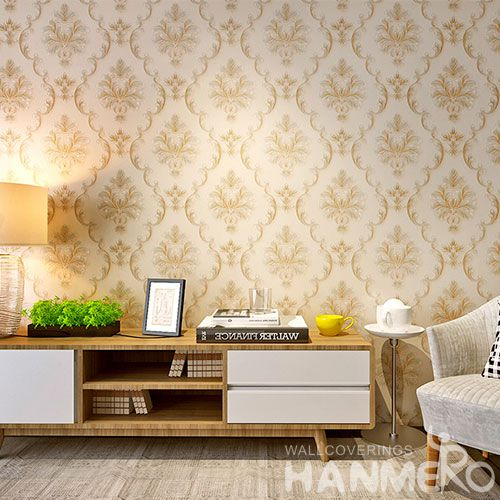 HANMERO Cozy Beige Color Chinese Factory Interior Room Decor Wallcovering Wallpaper PVC 0.53 * 10M Natural Sense