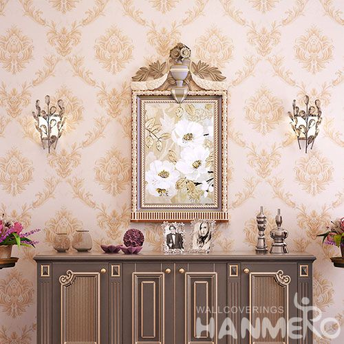 HANMERO Fashion Pink Color Nature Beautiful Flowers Wallpaper 0.53 * 10M PVC Fashion Design Study Room Decor Wallcovering