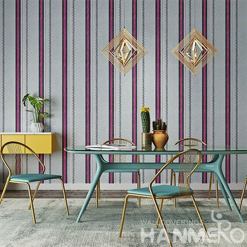 HANMERO Classic European Style Wallcovering Manufacture Stripes Pattern PVC 0.53 * 10M Wallpaper Study Room Office Decorative