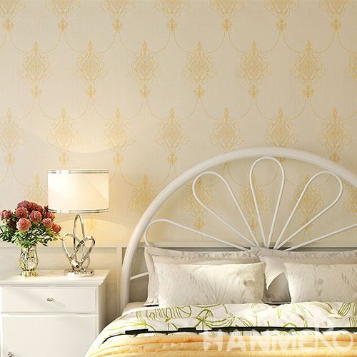 HANMERO Chinese Home interior Modern Luxury Wallpaper Beige Color 0.53 * 10M PVC Room Decoration Wallcovering Wholesaler