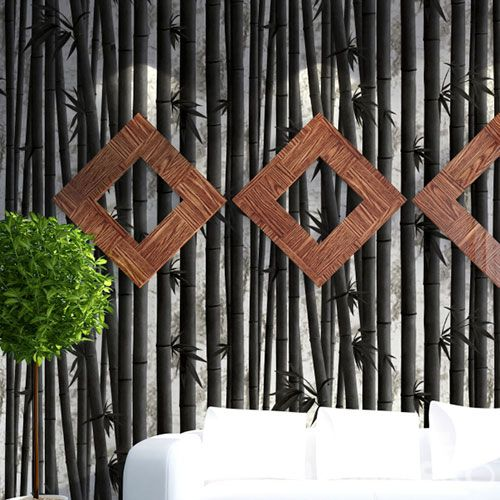 HANMERO Modern Style PVC 0.53 * 10M / Roll Cheap Wallpaper 3D Bamboo Pattern Chinese Wallcovering Manufacturer