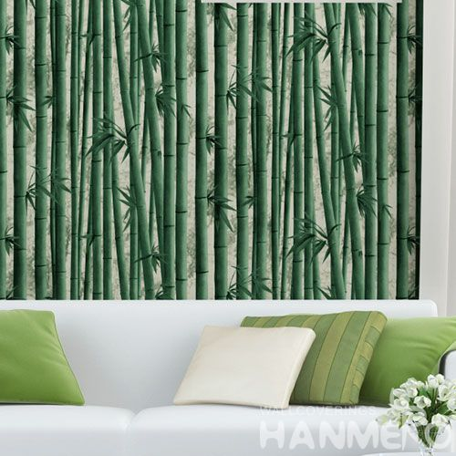HANMERO Luxury Green Color PVC 0.53 * 10M 3D Bamboo Textured Wallpaper Modern Style Living Room Bedroom Decor in Stock