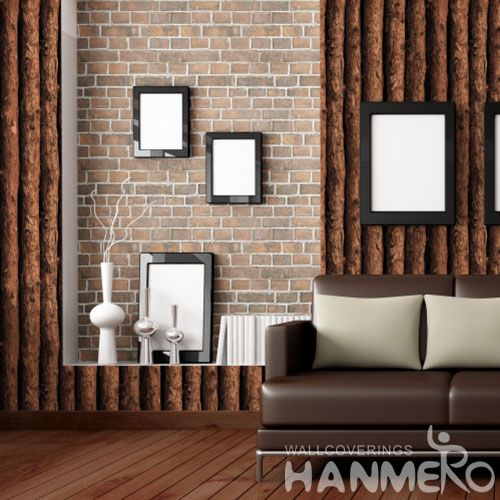 HANMERO PVC Brown Color 3D Wood Design 0.53 * 10M Vintage Wallpaper Modern Classic Style from Chinese Wallcovering Seller
