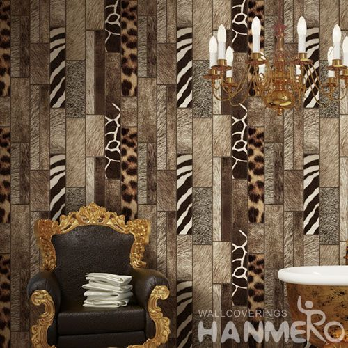 HANMERO New Fashion Dark Brown Wood Pattern Contemporary Wallpaper Unique Technology for Household Decoration from China