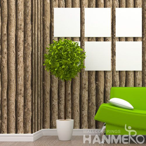 HANMERO Eco-friendly Natural 3D Wood PVC Retro Wallpaper 0.53 * 10M Fashion Living Room Decorating Wallcovering Latest