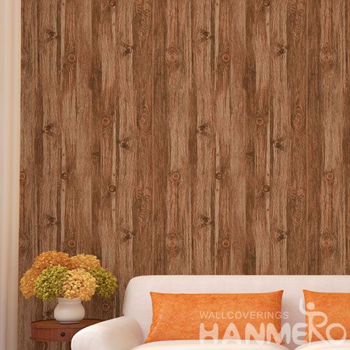 HANMERO Classic 3D Wood Design PVC 0.53 * 10M Modern Style Living Room Wallpaper Best Prices Chinese Wallcovering Dealer