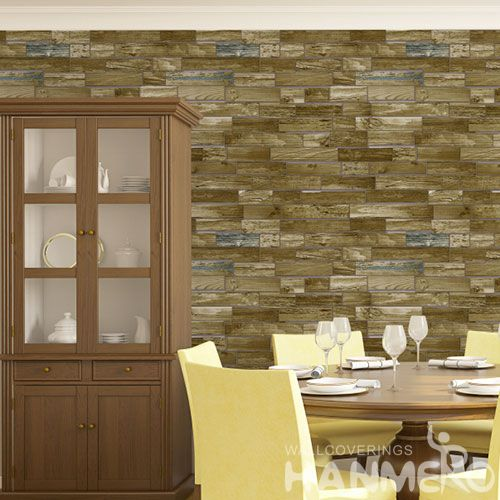 HANMERO Wood Design Household Wall Buy Wallpaper Online PVC 0.53 * 10M Wallcovering from Chinese Factory in Modern Style