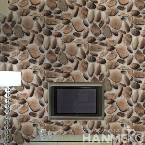 HANMERO Economical Brown Color PVC 0.53 * 10M Decor Home Wallpaper 3D Stone Design on Sale from Chinese Factory Favorable Prices