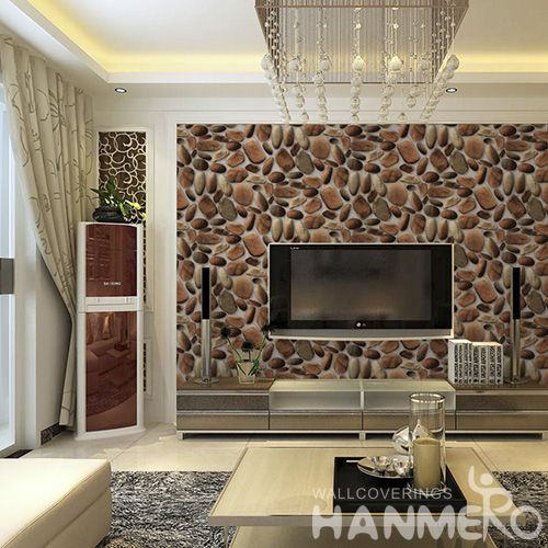 HANMERO Eco-friendly Vinyl-coated PVC 3D Stone Wallcovering Bathroom Bedroom Wall Decor 0.53 * 10M Decorative Wallpaper Modern Simple