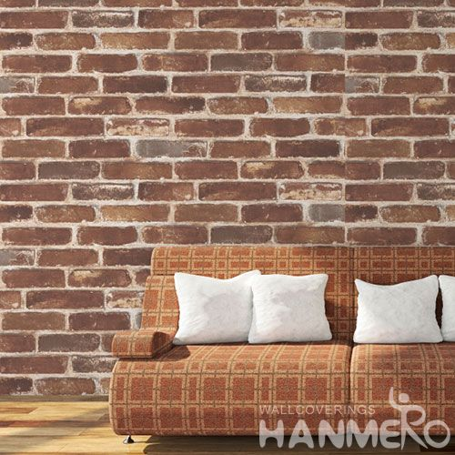 HANMERO Modern Classic Style 0.53 * 10M / Roll Brick 3D Wall Paper Wallcovering Distributors Hot Sex for Living Room