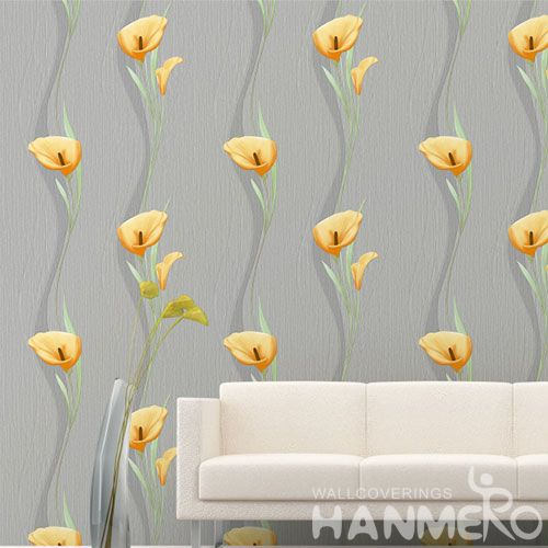 HANMERO Durable Hot Selling PVC Contemporary Wallpaper Patterns Modern 0.53 * 10M Yellow Flowers Wallcovering High Quality Living Room Decor