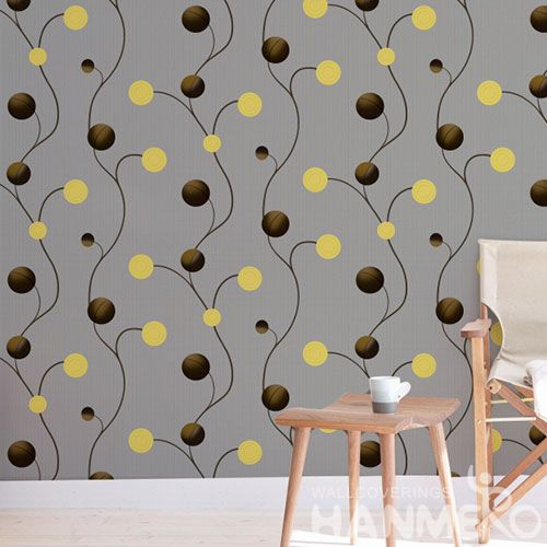 HANMERO Yellow Czoy Color PVC 0.53 * 10M Wallcovering Chinese Wallpaper for Living Room Walls Supplier European Style Factory Sell Directly
