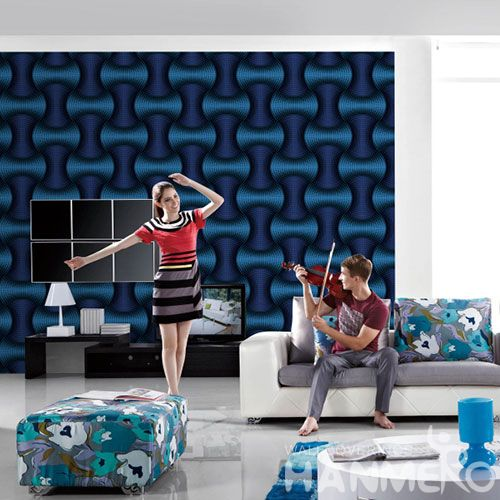 HANMERO Dark Blue Home Interior 3D PVC 0.53M Wallpaper for TV Sofa Background from Professional Wallcovering Manufacturer