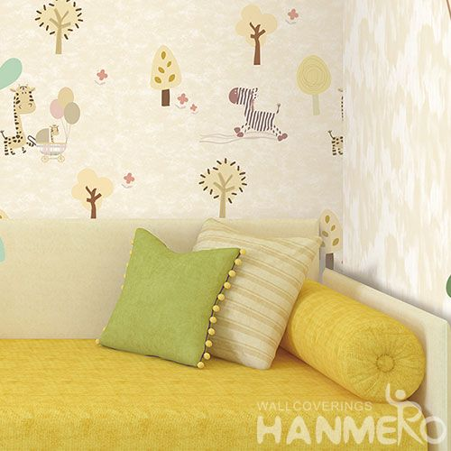 HANMERO Removable Modern Non-woven 0.53 * 10M Wallpaper Cartoon Giraffe Zebra Design Cozy Home Decoration China Supplier