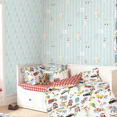 HANMERO Decorative Household Wall Wallcovering Manufacturer Cartoon Cats Design Wallpaper Wholesale Trader from China