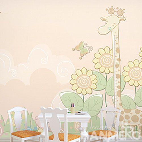 HANMERO Eco-friendly Nature Sense Cartoon Giraffe Design Modern Living Room Wallpaper for Elegant Home Decoration