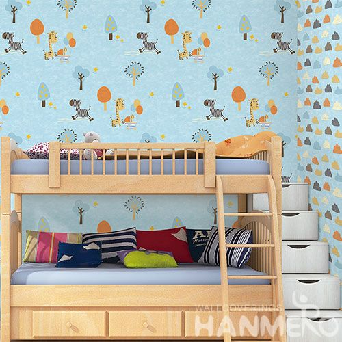 HANMERO Affordable Hot Non-woven Quality Wallpaper Cartoon Animals Design Household Room Wallcovering Competitive Prices