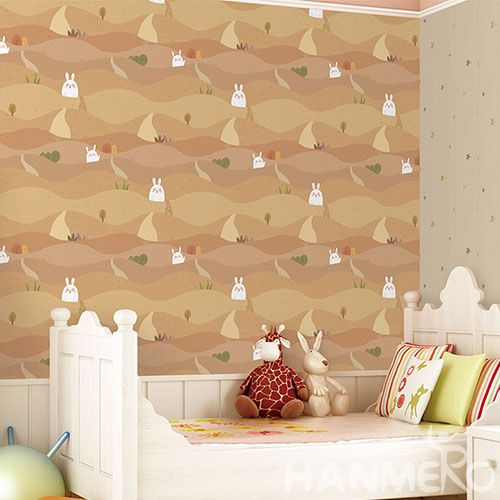 HANMERO 0.53 * 10M Natural Material Wallpaper Cartoon Rabbits Designs Bedroom Wallcovering Distributors Hot Sex