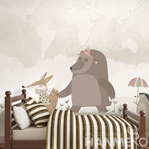 HANMERO Removable Chinese Supplier Non-woven Wallpaper Cartoon Animal Textured for Home Decoration  Chinese Factory