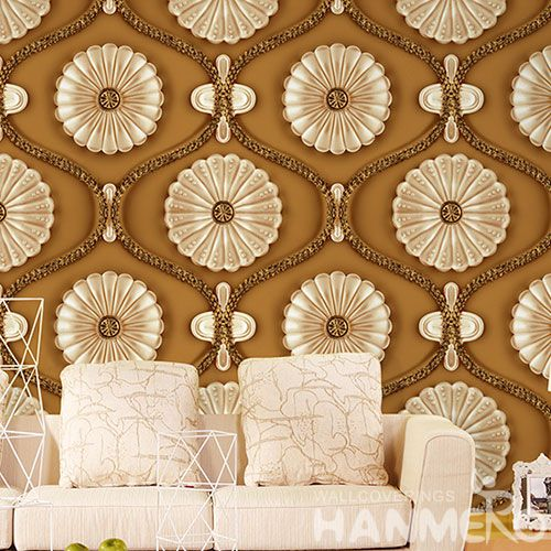 HANMERO Chinese Factory 1.06M PVC Gloden Flowers 3D Wallpaper from Professional Wallcovering Dealer Modern Classic Style