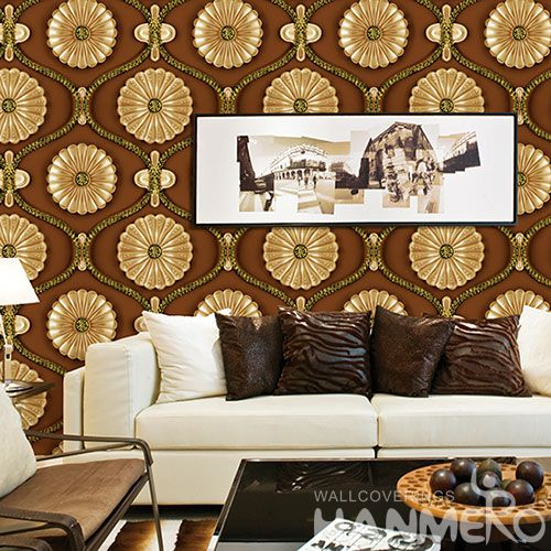 HANMERO Modern Golden Color Flowers Wallcovering 1.06M PVC Removable 3D Wallpaper for Office Exhibition Wall Photo Quality
