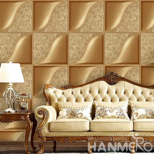 HANMERO Gloden Geometric Pattern Top Quality Living Room PVC 3D Wallpaper for Wall Decoration Chinese Wholesaler Best Prices