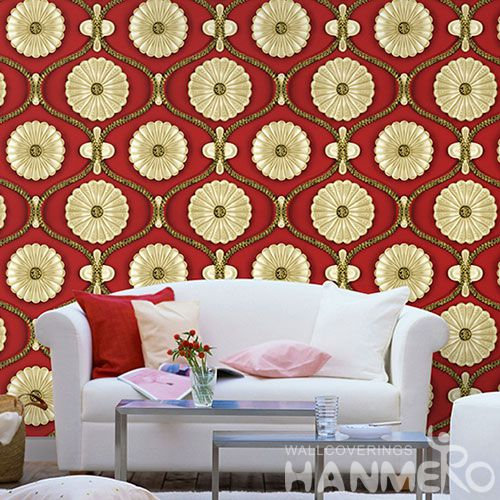 HANMERO Modern Style Gloden Flowers Wallcovering 3D 1.06M PVC Wallpaper Factory Sell Directlly Wallpaper for Bedroom in Stock Wholesale