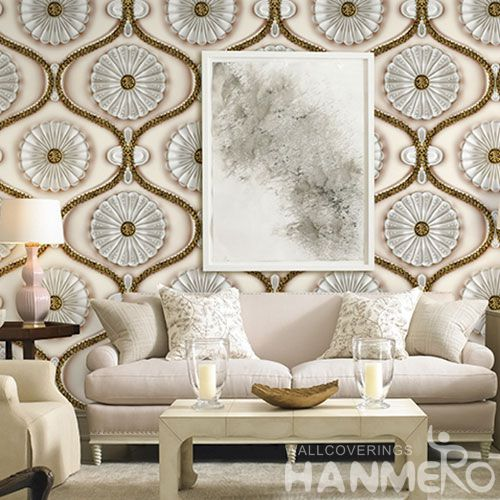 HANMERO Modern Classic Style Photo Quality Wallpaper 3D PVC 1.06M Floral Pattern Wallcovering Manufacturer Top Grade