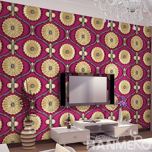 HANMERO Nature Beautiful Gloden Flowers Wallpaper 1.06M PVC Fashion Design Study Room Decor Cozy Wallcovering Best Selling