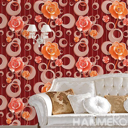 HANMERO Hot Selling 1.06M PVC Beautiful Flowers Wallpaper Modern Fashion Style Home 3D Wallcovering for Wall Dealer from Hubei China
