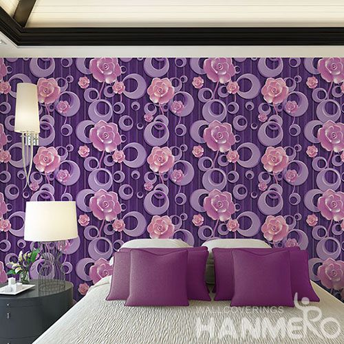 HANMERO Modern Design Purple Pink Color 3D Wallpaper PVC 1.06M with Flowers Pattern for Luxury Home Decoration from China