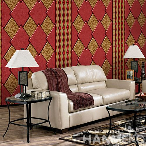 HANMERO Newest Fancy Germetric Design Wallcovering Gloden Red Color 1.06M PVC Wallpaper for Hotel Nightclub Wall Decor Hot Selling