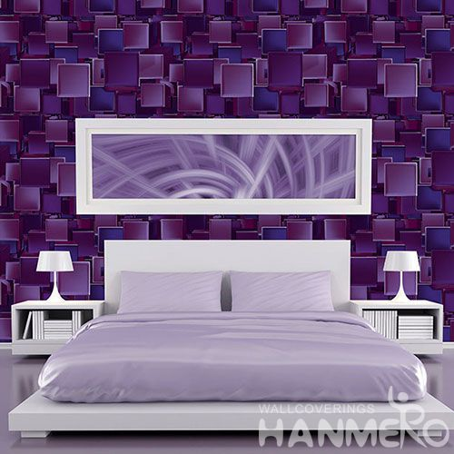 HANMERO Purple Color Germetric Design Best Prices 3D PVC Wallpaper for Interior Wall Design Wallcovering Vendor from Hubei China