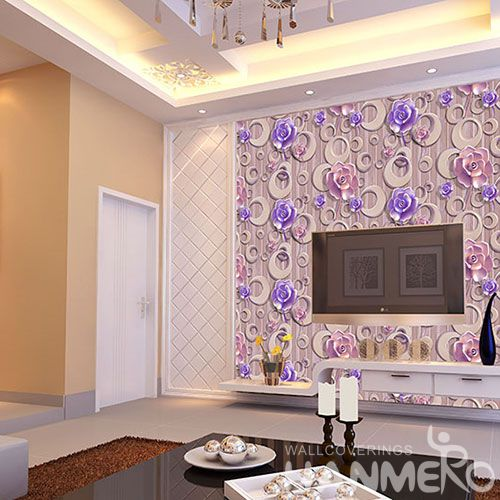 HANMERO Purple Floral Pattern High Quality Bed Room Natural 3D Wallpaper PVC 1.06M Modern Style Chinese Wallcovering Factory