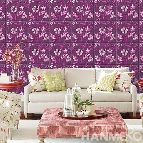 HANMERO Modern Beatiful Floral Pattern 3D Wallpaper Pink Color for Sofa Background PVC 1.06M Wallcovering Factory Supplier