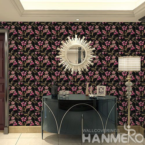 HANMERO China Manufacture Wall Decoration Wallpaper 3D Beautiful Flowers PVC Wallcovering for Livingroom Bedroom Decor on Sale