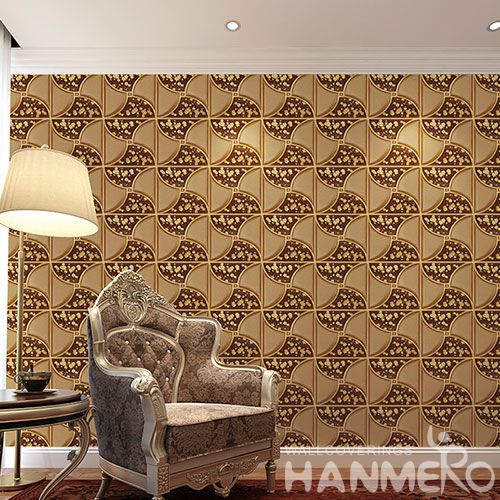 HANMERO 3D PVC Golden New Fashion Germetric Pattern Wallpaper for Living Room Bathroom Wall Manufacturer Designer CE Certificate
